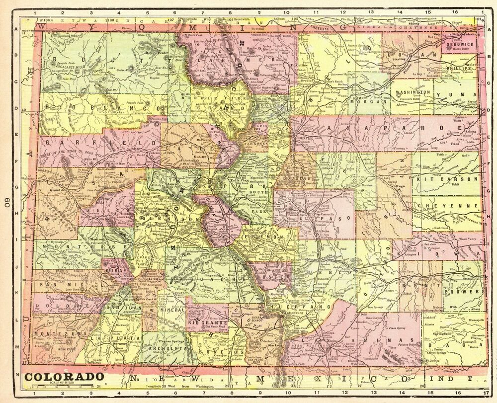 1901 Antique Colorado State Map Vintage Map Of Colorado Gallery Wall Art 7303 Colorado Map Antique Maps Art Gallery Wall