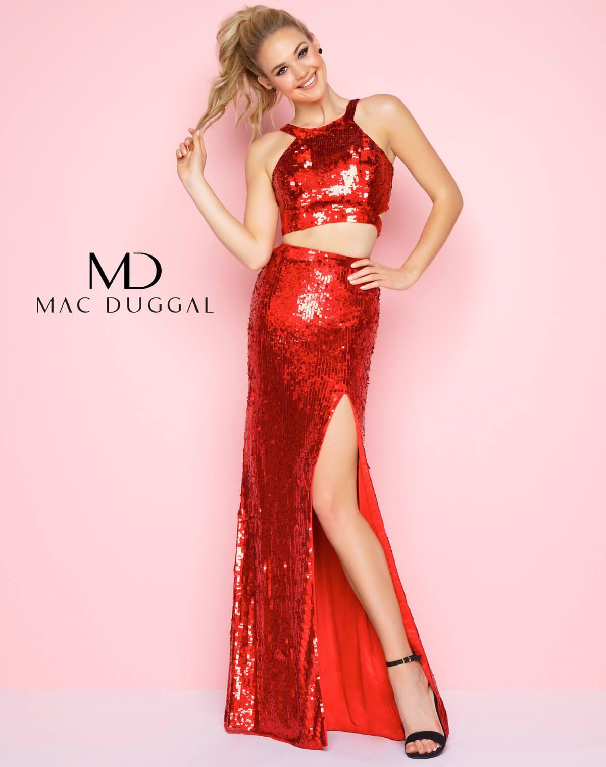 Red halter neck two piece prom dress gowns pinterest halter