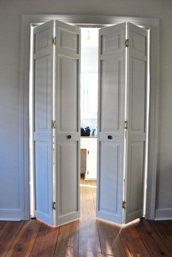 Accordion Bathroom Doors buh-bye bi-folds: removing them for an open look | bi fold doors