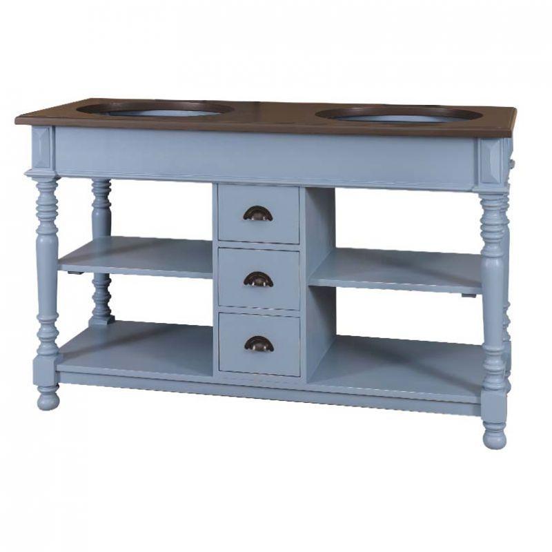 Waschtisch Paris Blau, Doppelwaschtisch, Vintage Look, Romantischer  Landhausstil, Landhausmöbel, Badezimmer,