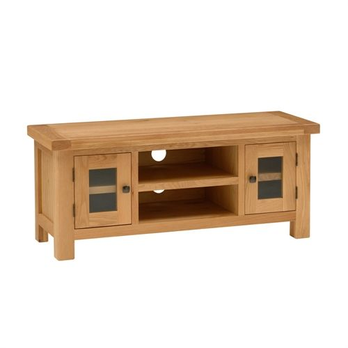 """Portland Oak Wide TV Unit with 2 Doors - up to 53"""" (L514) with Free Delivery 