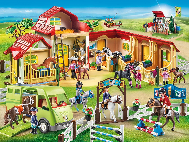 Gro er playmobil reiterhof 69 5 41 24 5 cm mit zwei - Pferde playmobil ...