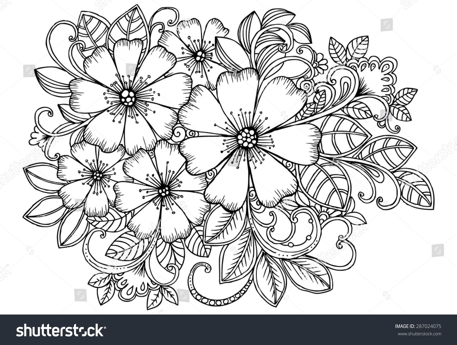 Stock Vector Beautiful Bouquet Of Flowers In Black And White For