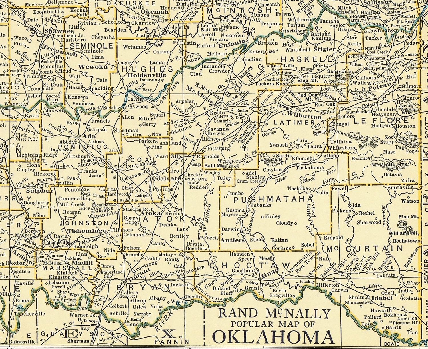 Vintage MAP Of OKLAHOMA Authentic S Perfect For Framing - Map of oklahoma