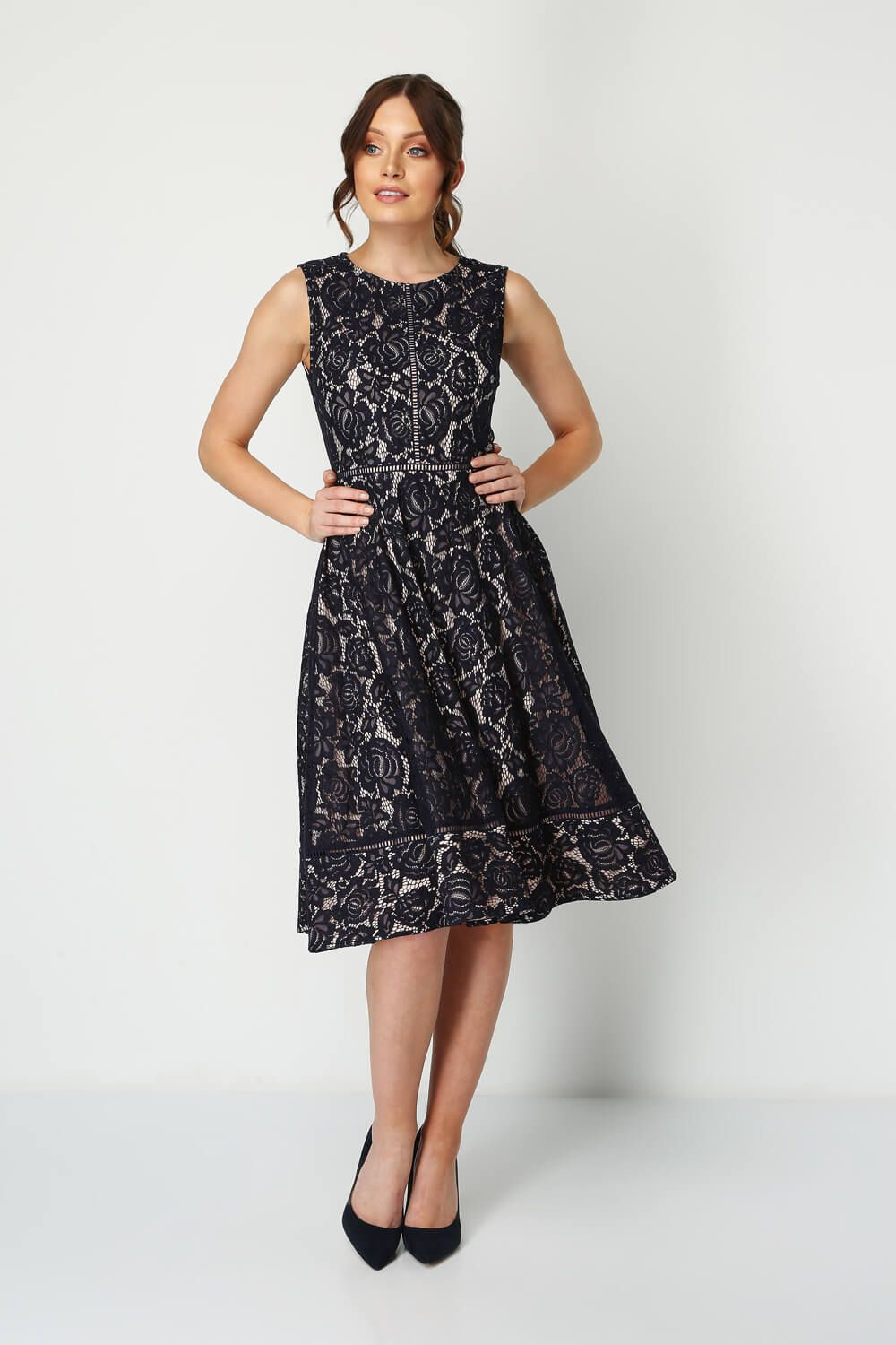 d5b000d32325 Fit And Flare Lace Dress in Navy - Roman Originals UK in 2019 ...