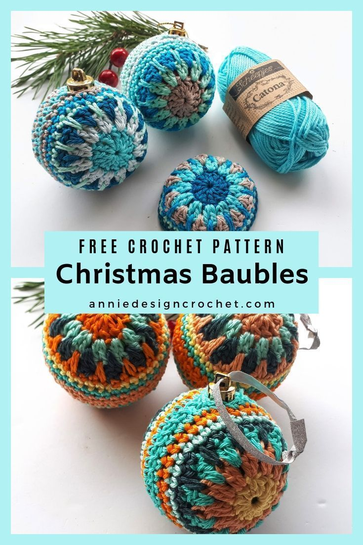 Photo of Crochet Christmas balls to decorate your home for the holidays. Free crochet …