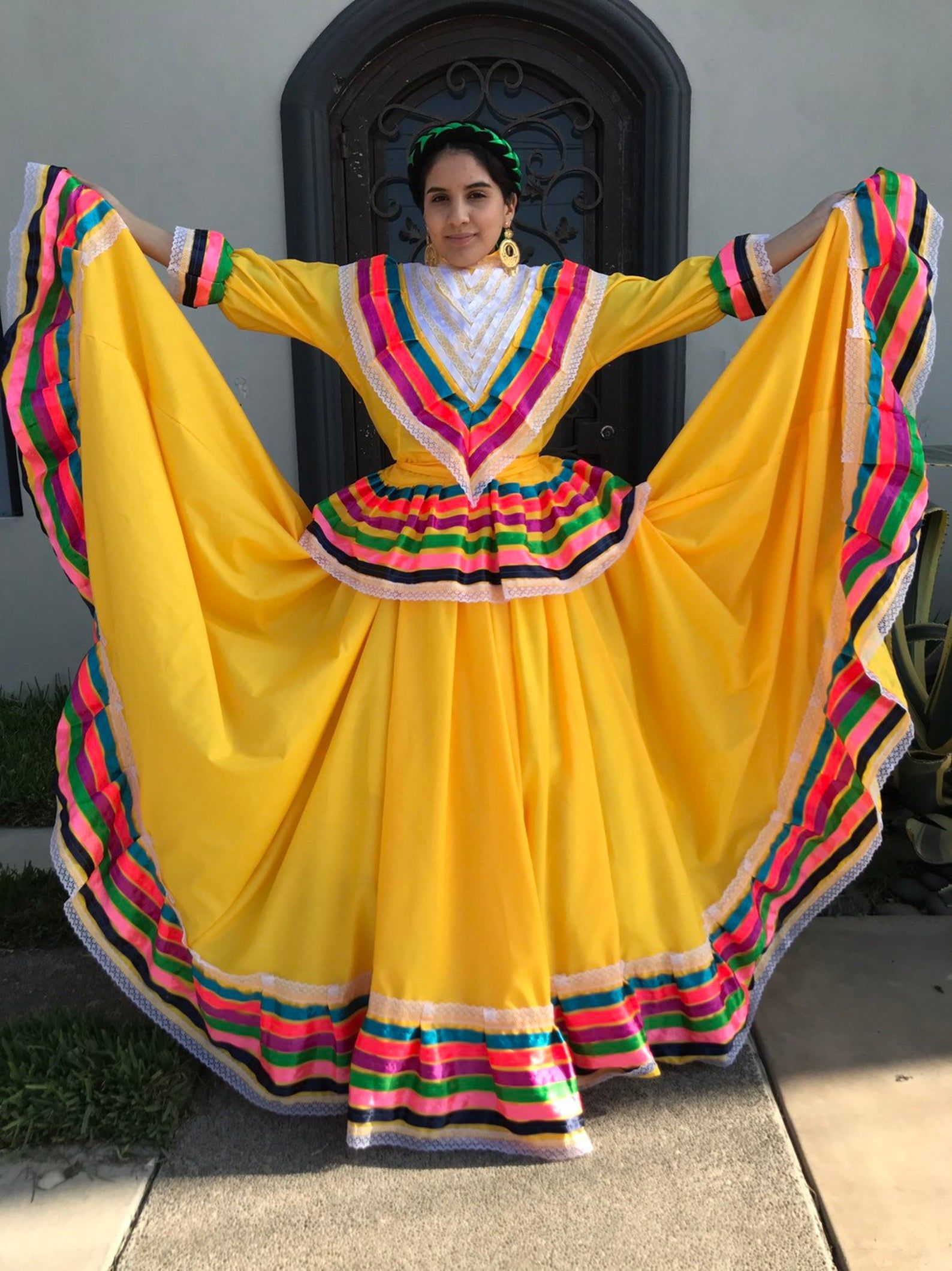 Mexican jalisco two piece yellow dress woman size m double