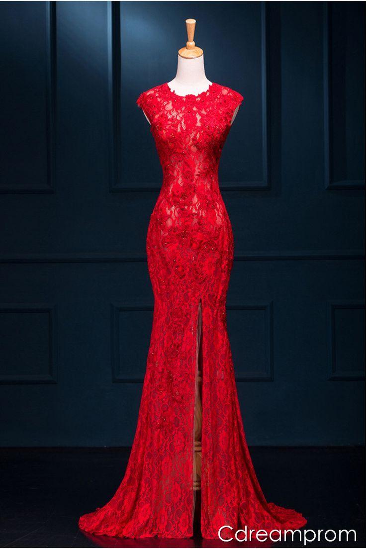Red lace evening dress kızlar kızlar pinterest red lace