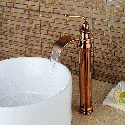 Bathroom Sink Faucet Waterfall Rose Gold Centerset Single Handle