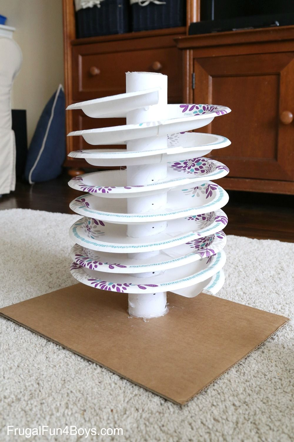 How To Build A Paper Plate Spiral Marble Track Frugal Fun For Boys And Girls Marble Tracks Paper Plates Homemade Toys