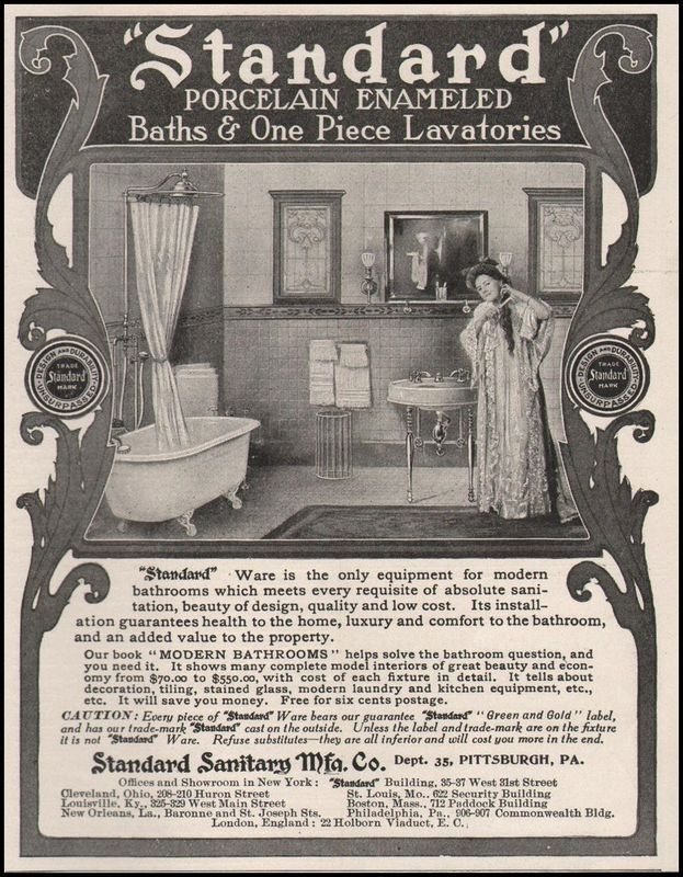 1905 Standard Sanitary Manufacturing Co Bathroom & Plumbing Fixtures ...