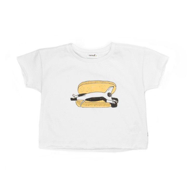 Oeuf Tee Shirt - Hot Dog White/Multi