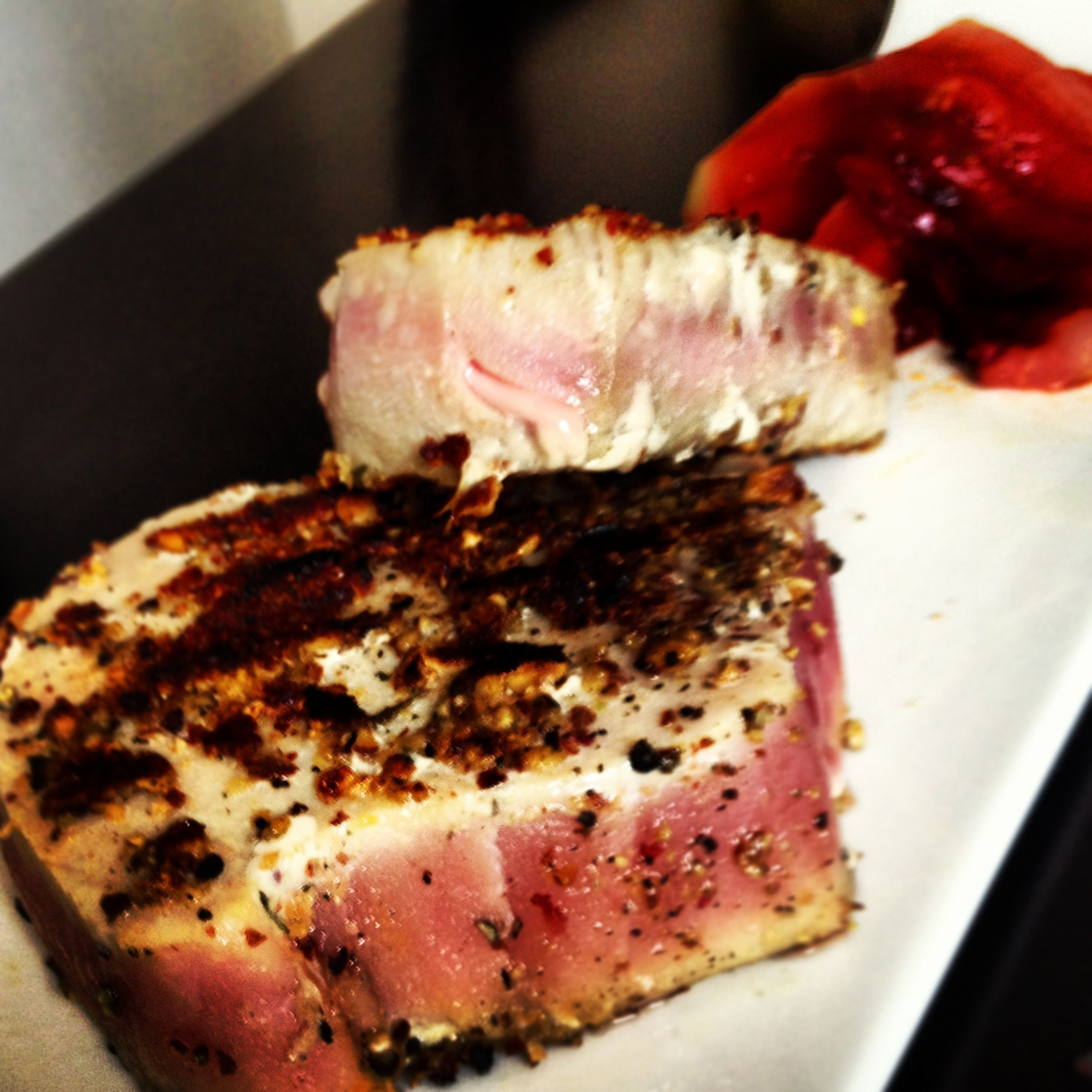 Grilled tuna and watermelon