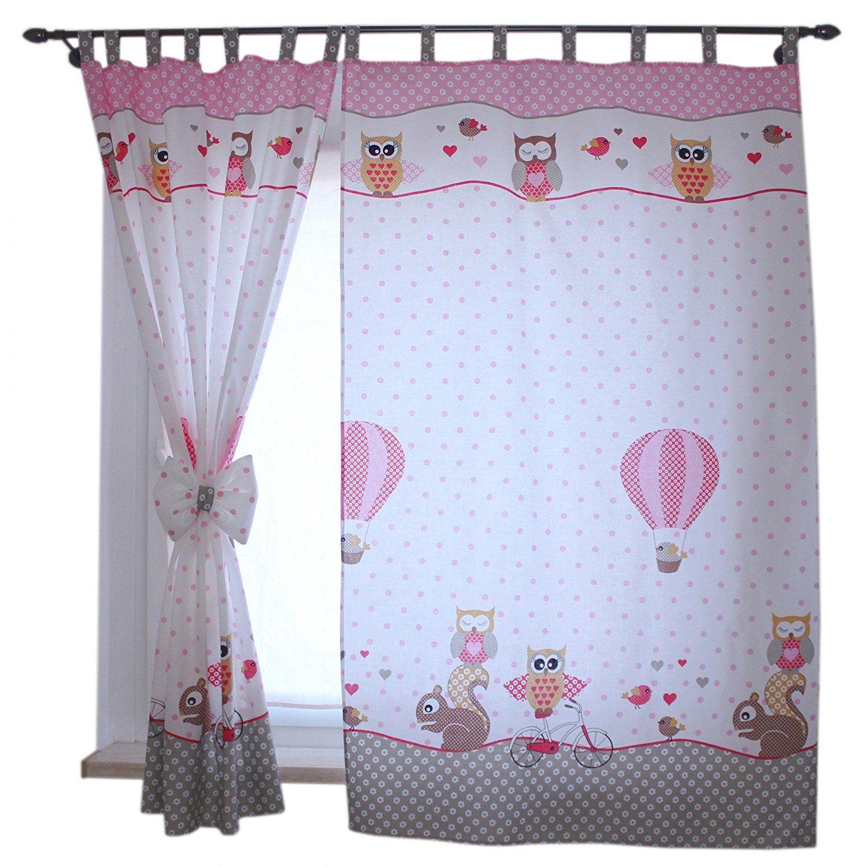 2er Set Gardinen Kinderzimmer Vorhänge Mit Schlaufen Und Schleifen