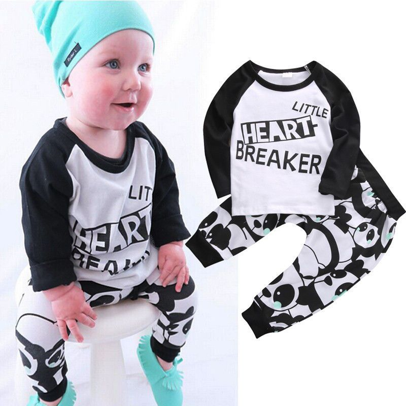 2pcs Toddler Kids Baby Boys Girls T-shirt Tops+Long Pants Clothes Sets Outfits