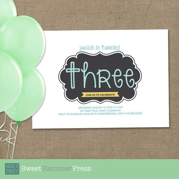 Guess who's Three Birthday Party Invite for by SweetHammerPress