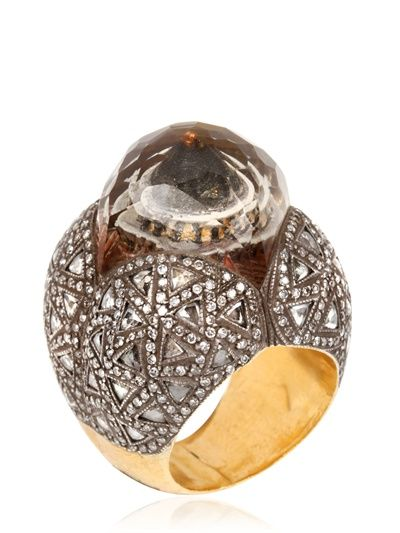 SEVAN BIÇAKCI (Turkish designer) - LEMON TOPAZ AND WHITE DIAMONDS RING - LUISAVIAROMA - FLORENCE