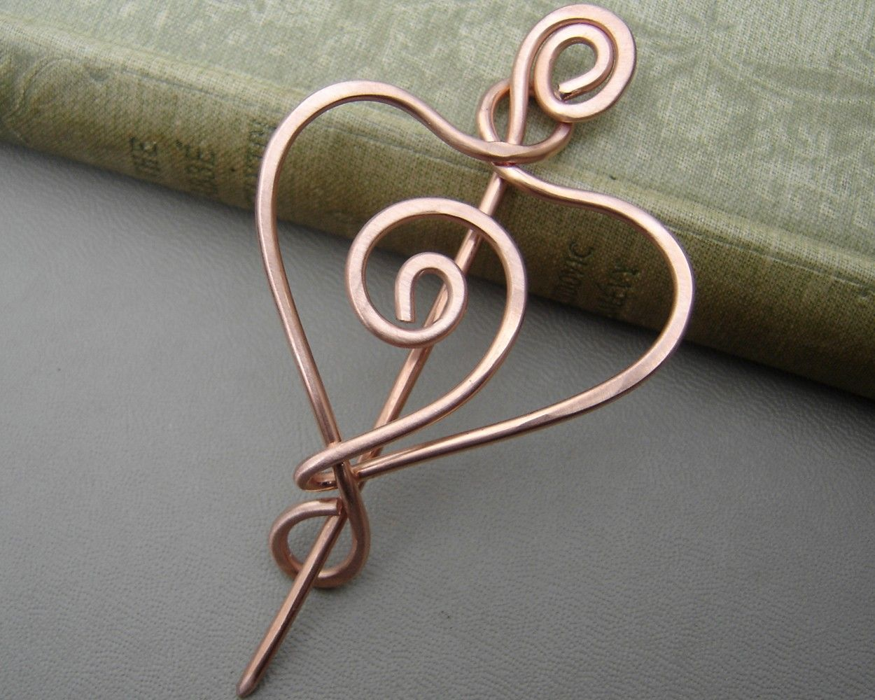 Spiral Heart Copper Shawl Pin, Scarf Pin, Sweater Fastener, Shrug ...