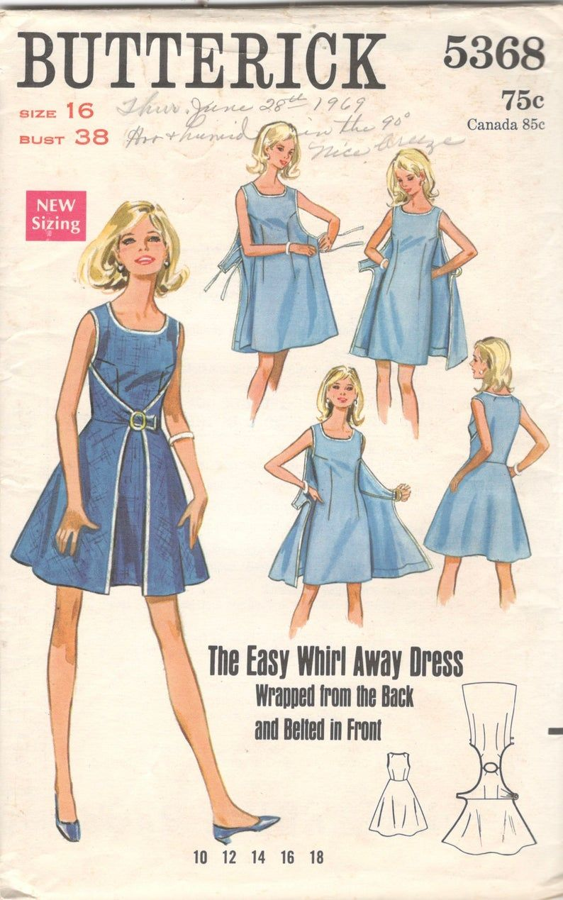 1960s Butterick 5368 Whirl Away Dress Pattern Wrap Dress Scoop Neck Womens Vintage Sewing Pattern Size 16 Bust 38 UNCUT