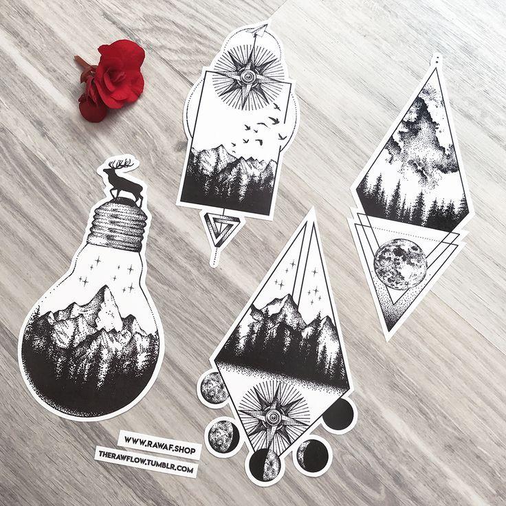 Photo of Collection de conception de tatouage de montagne naturelle Dotwork Blackwork. Vous pouvez obtenir le coll …, …