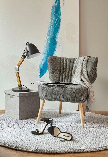 Grey, cotton cord, round rug, crochet rug, crochet carpet, knitted - teppich wohnzimmer grau