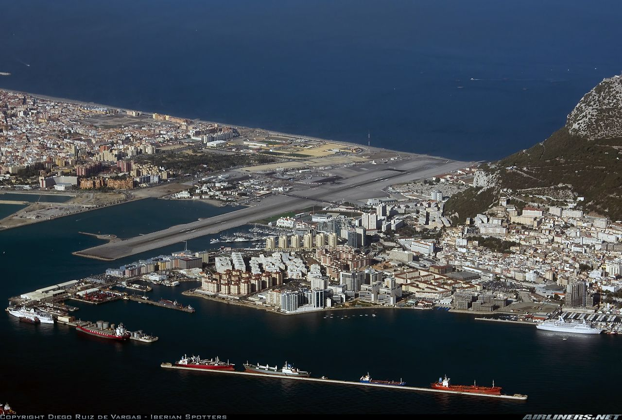 An overview of Gibraltar airport just after taking off from runway 27.