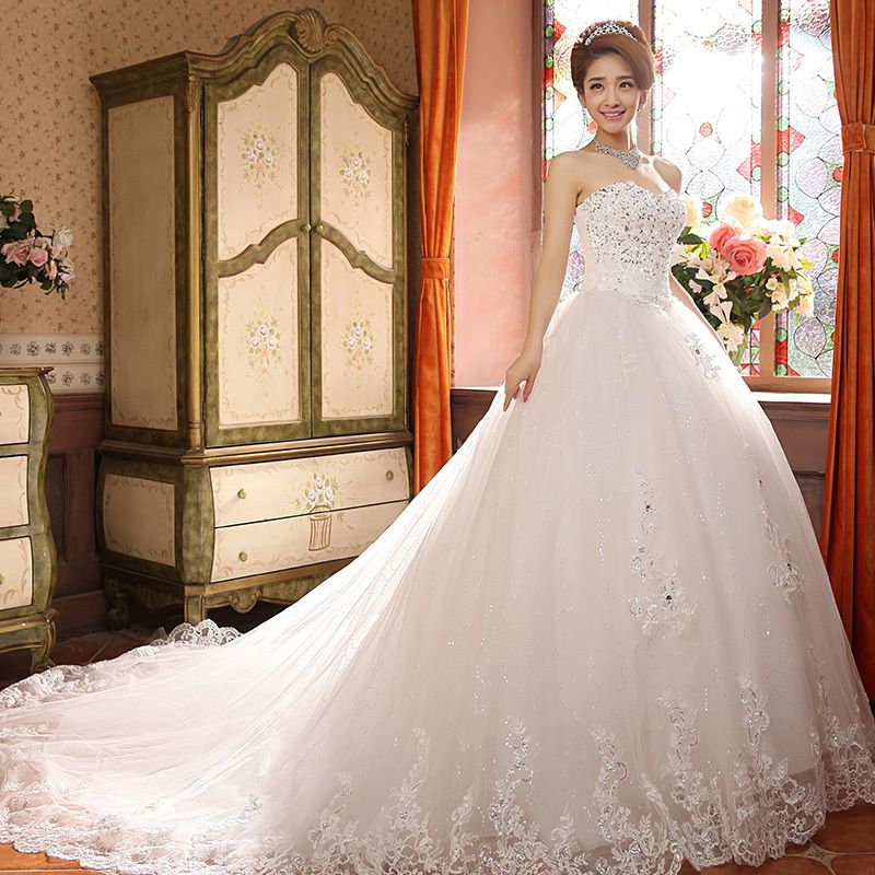 Find More Wedding Dresses Information About Hot New Fashionable Vestido De Noiva With Court Train Sweetheart