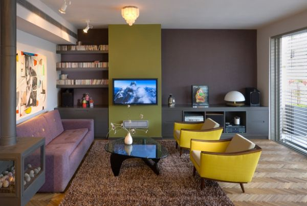wohnzimmer modern tendenzen schiefergrau elektrisch gelb akzente
