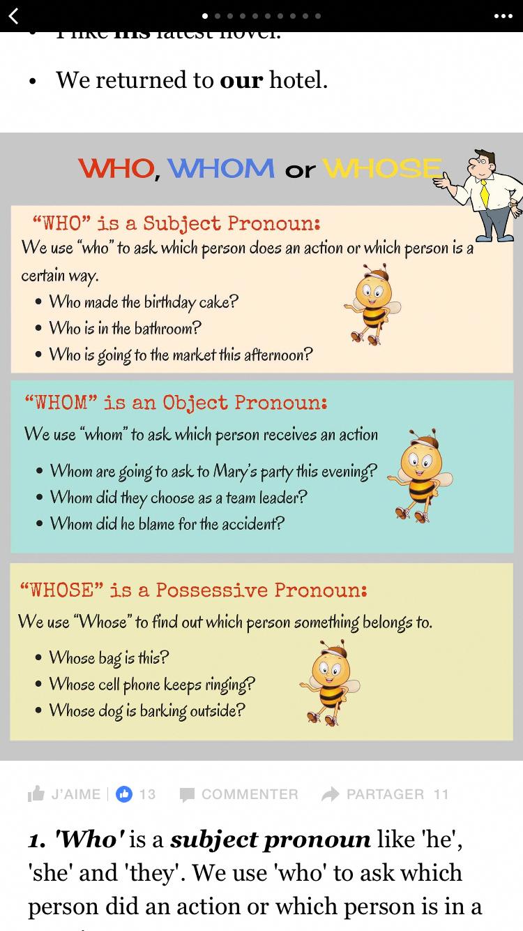 Who Whom Whose Traductionanglais English Language Learning Learn English Grammar English Vocab