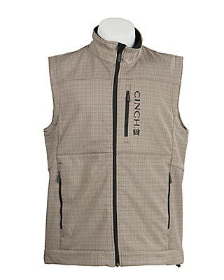 Cinch Men's Grey Plaid with Black Logos Bonded Vest