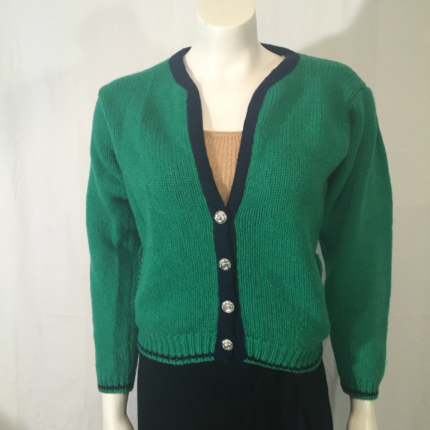 80s Navy Blue Preppy Sweater Vintage 70s Cardigan Sweater Flower Buttons