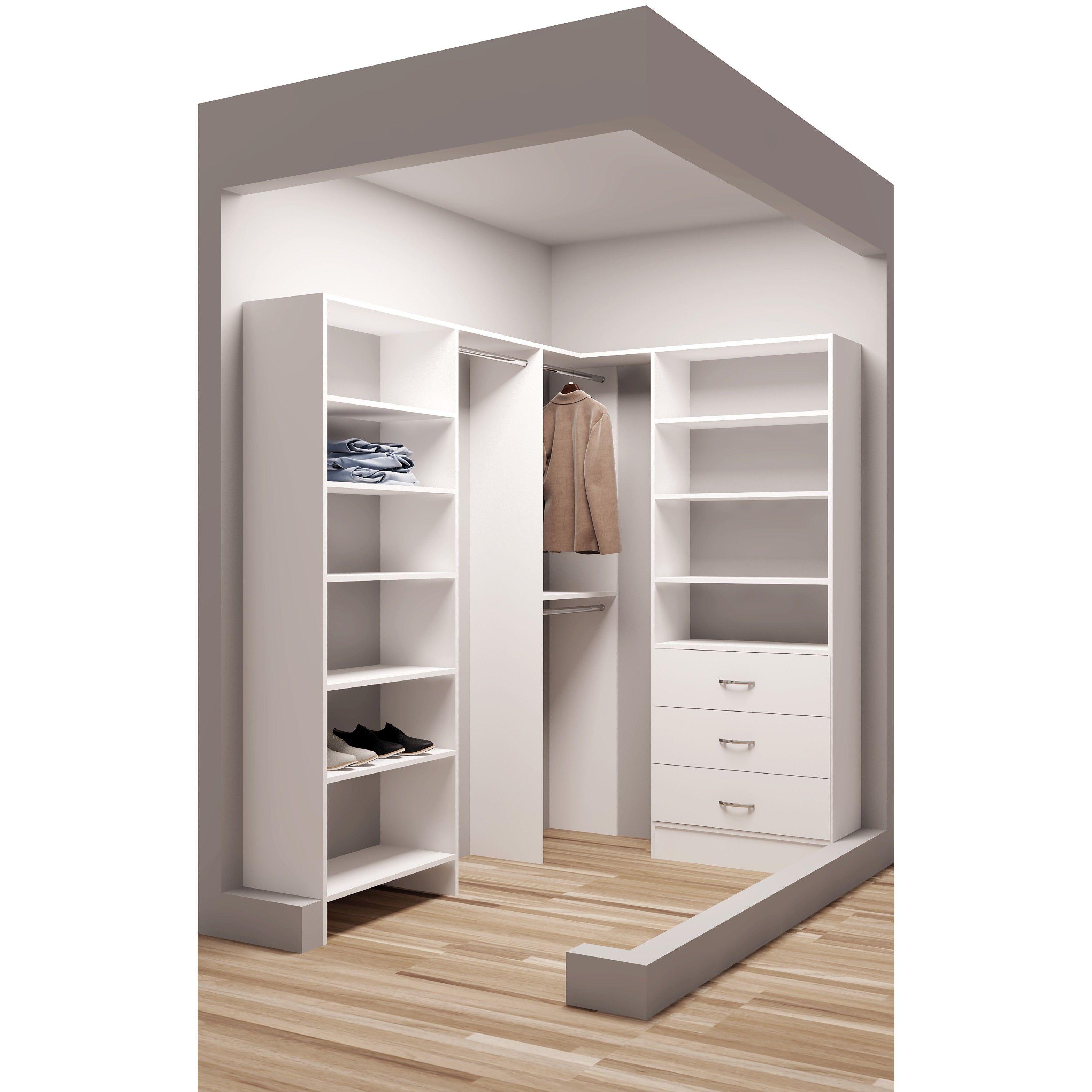 Tidysquares Classic White Wood 595 X 87 Corner Walk In Closet