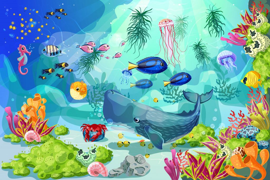 Underwater Landscape Puzzle In Under The Sea Jigsaw Puzzles On Thejigsawpuzzles Com Play Full Screen En Underwater Life Art Craft Paint Vector Illustration