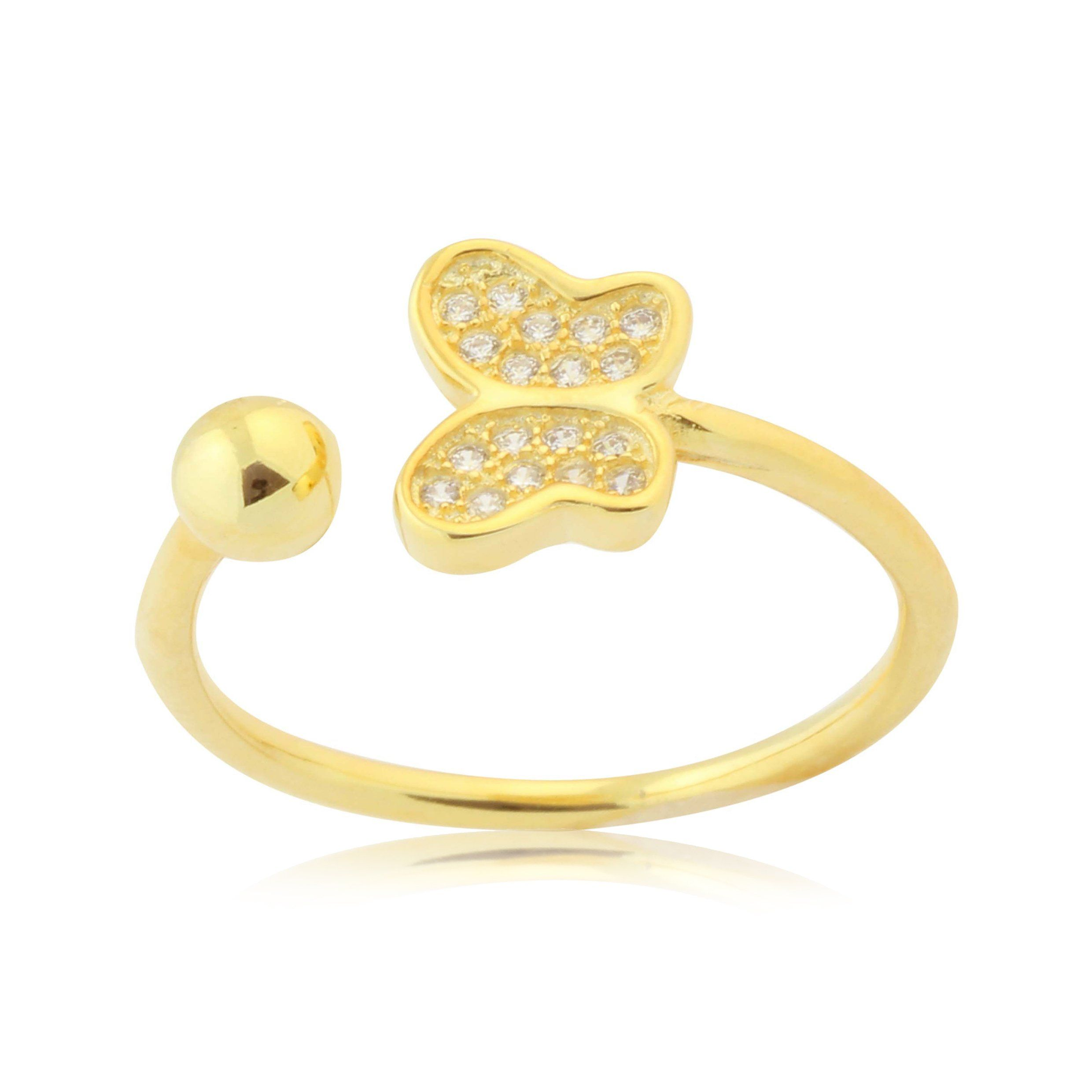 Adjustable Butterfly Ring in Gold Plated Sterling Silver Pavé with
