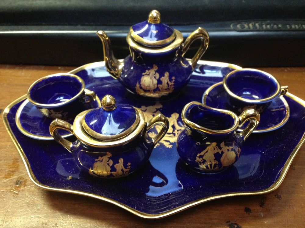 CLAUDE MONET WATERLILY FRENCH LIMOGES TEA COFFEE SET2 LIMOGES BOXES 5  MINIATURES (01/21/2014) | Tiny Tea Sets | Pinterest | Claude Monet, ...