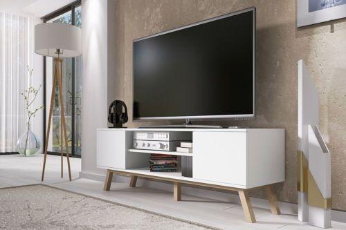 Vero Bois Meuble Tv Scandinave 150 Cm Blanc Mat Deco Pinterest