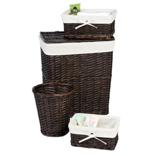 Laundry Hamper Clothes Basket Organizer Wicker Bathroom Trash Can