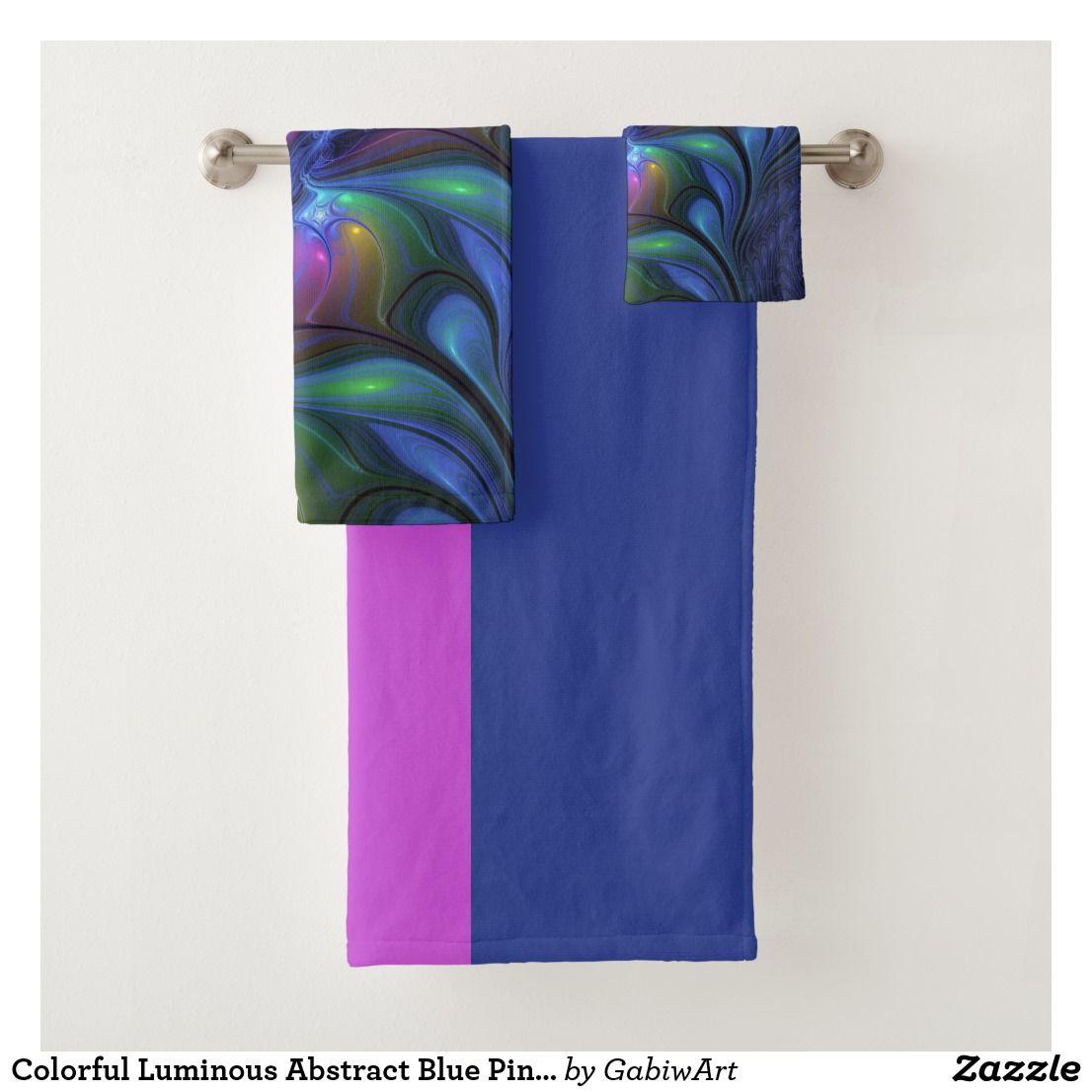 Colorful Luminous Abstract Blue Pink Green Fractal Bath Towel Set ...