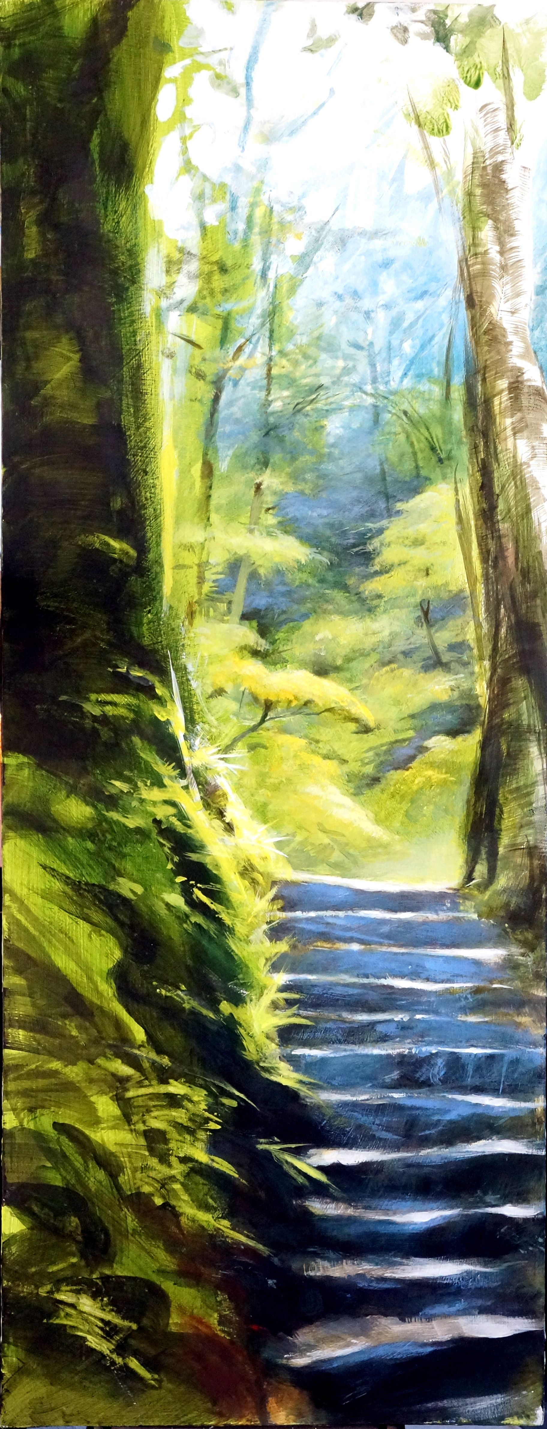 Forest Steps - acrylic painting on board by David Williams. Giclee prints available from www.southdownsgallery.co.uk