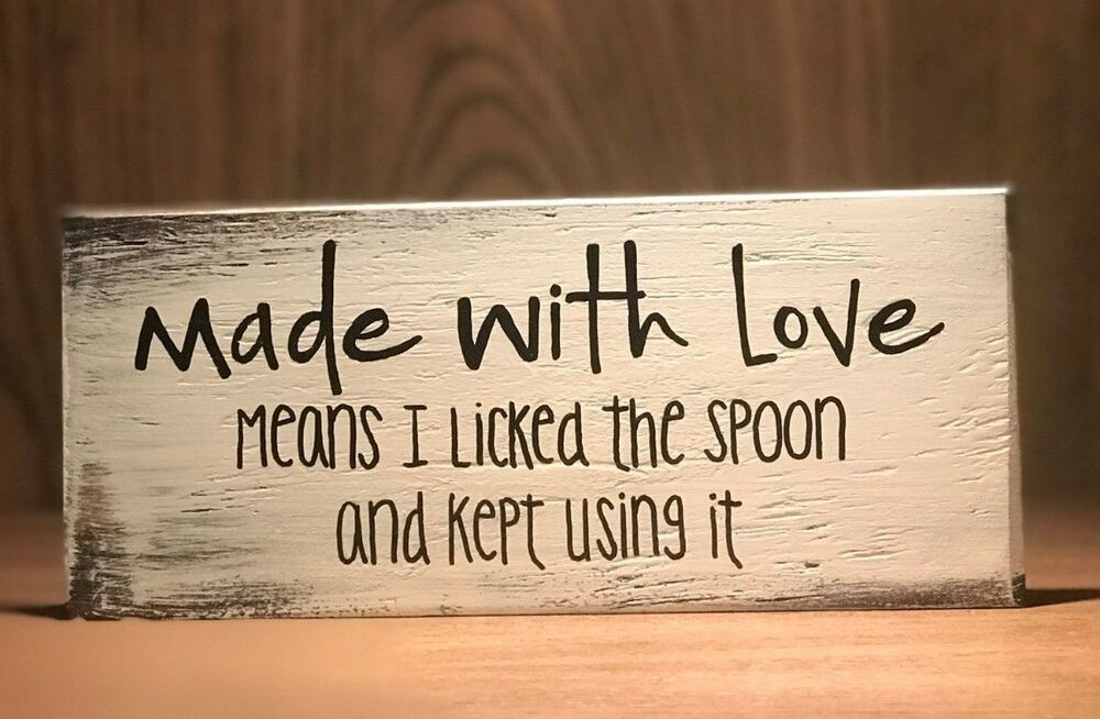 Details about Rustic Wood Kitchen Sign MADE WITH LOVE, Farmhouse Home decor, funny, baking