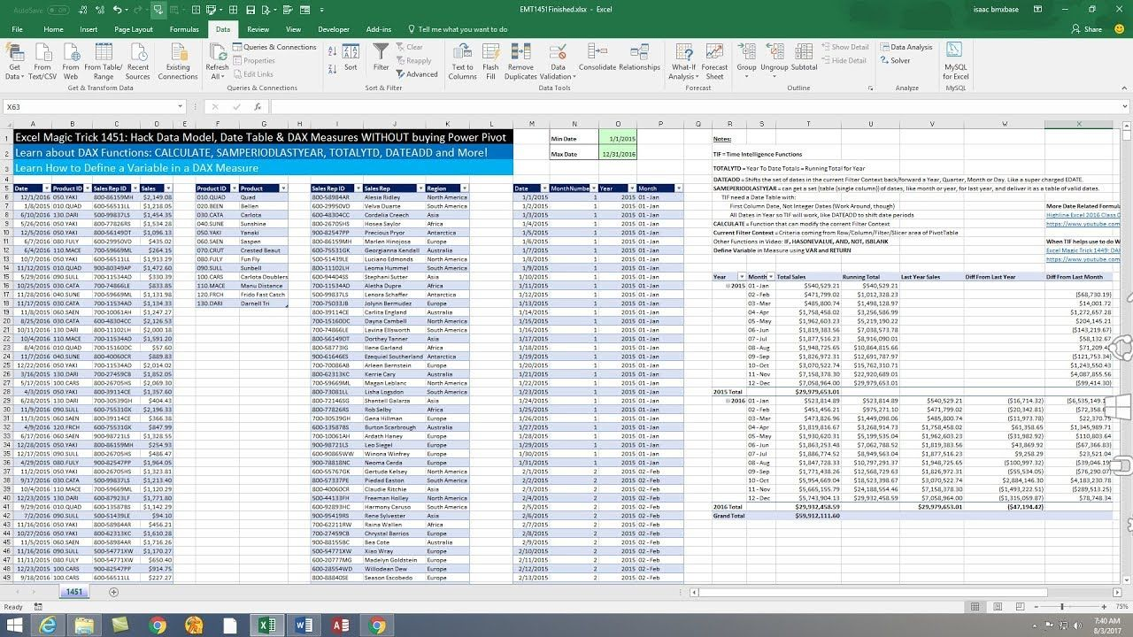 Excel Magic Trick 1451 Hack Data Model Date Table Dax Measures