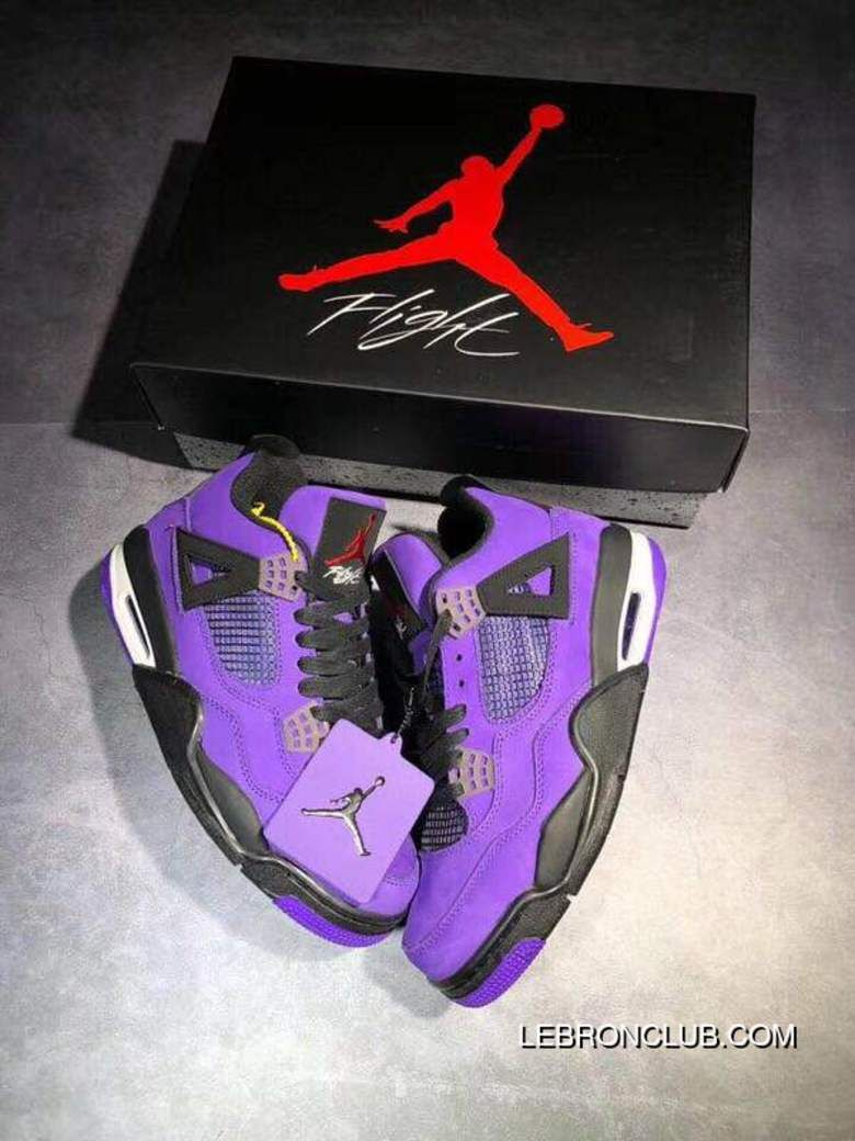 1beb17c504d9 Travis Scott X Air Jordan 4 Collaboration Purple Collaboration Blue Suede  Size Outlet