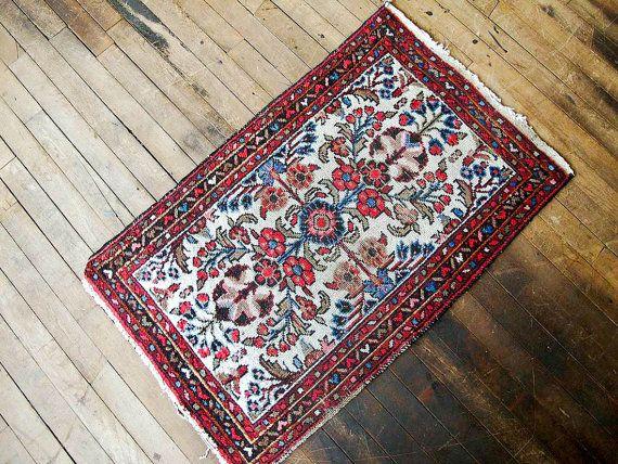 Persian Rug Vintage Bohemian Oriental Antique 1x3 Small