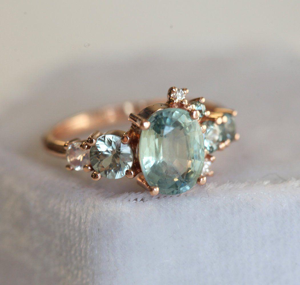 Light Green Sapphire Engagement Ring Cluster Ring Oval Sapphire Engagement Ring Pastel Sapphire Ring Light Green Ring 14k Gold Green Sapphire Engagement Green Sapphire Engagement Ring Engagement Rings Sapphire
