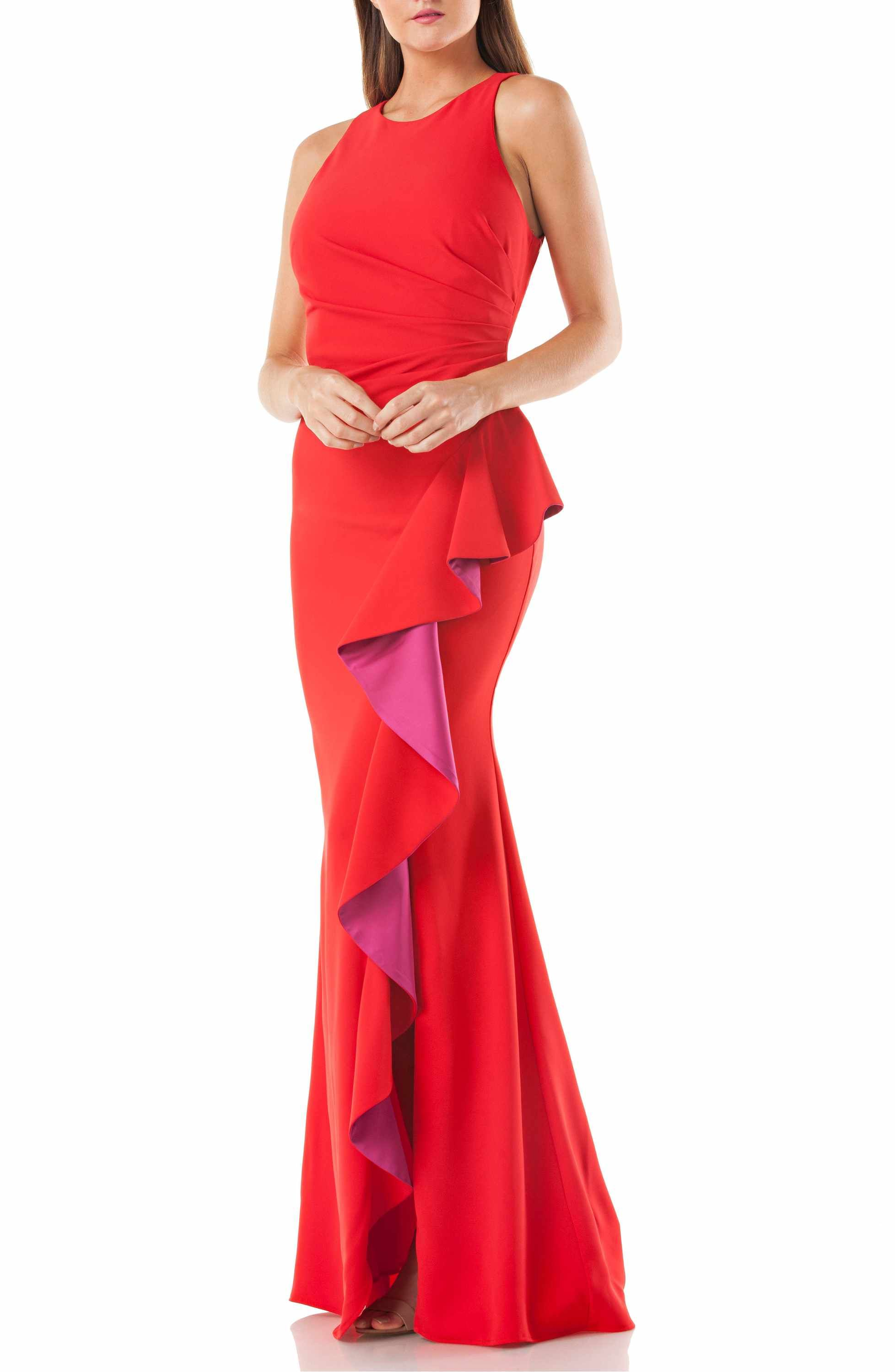 78367cea29947 Main Image - Carmen Marc Valvo Couture Infusion Ruffle Gown ...