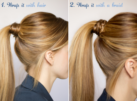A classic way to dress up a ponytail: wrap hair (or even a braid) around the rubberband.