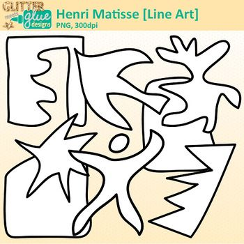 Henri Matisse Shapes Clip Art Collage Cutout Shapes Bw Glitter