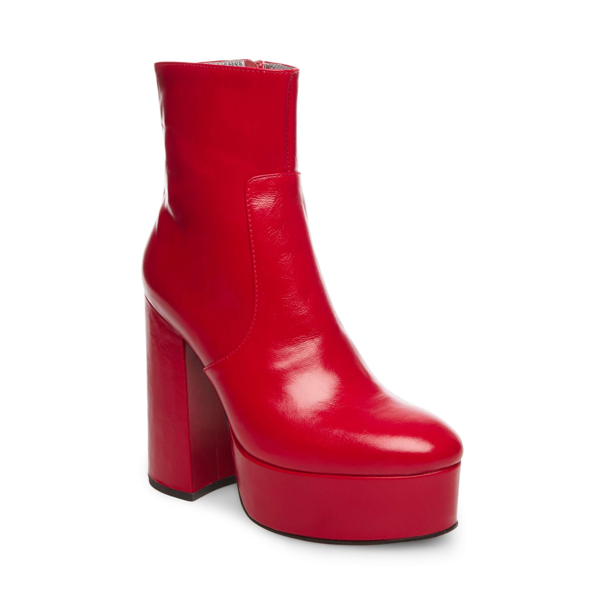 Inapropiado vender Atento  Steve Madden Us-Foxy - Red Leather 9 | Red ankle boots, High heel boots  ankle, Red leather boots