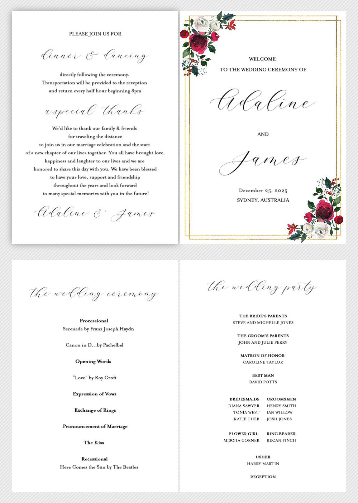 Folded Wedding Ceremony Program Card Editable Template Christmas Weddi Wedding Ceremony Programs Wedding Ceremony Programs Template Wedding Order Of Service