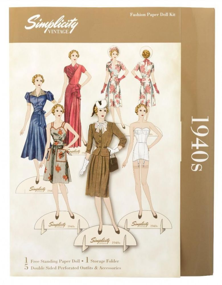 Simplicity Vintage Fashion Paper Doll 1940 S Each Doll Comes With 5 Different Period Outfits Plus Accessories Sim Paper Dolls Vintage Paper Dolls Vintage Paper